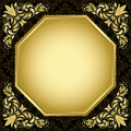 Black vintage card with gold decorations - vector Stock Photography