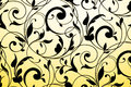 Black vintage ornament on white and yellow gradient Royalty Free Stock Photo