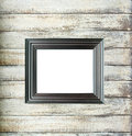 Black Vintage picture frame on old wood background Royalty Free Stock Images