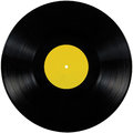 Black vinyl record lp album disc, isolated long play record disk, blank empty yellow label copy space Royalty Free Stock Photo