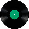 Black vinyl record lp album disc, large detailed  isolated long play disk, blank empty green label copy space Royalty Free Stock Photo