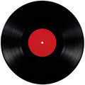 Black vinyl record lp album disc, large detailed  isolated long play disk blank empty red label copy space Royalty Free Stock Photo