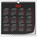 2018 black wall calendar mock up template with spring on transparent background