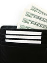 Black Wallet with the Pack of Dollars Close Up Royalty Free Stock Photo