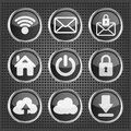 Black web icons on a metallic background set of Stock Images