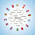 Black welcome phrases in different languages of the world and countries flags