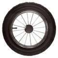 Black wheel of road transport isolated transportation detail tire tyre with spokes vehicle part on white studio shot Royalty Free Stock Images