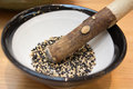 Black and white sesame in mortar and pestle Royalty Free Stock Photo
