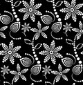 Black and white abstract halftone flower background seamless vector pattern Stock Photo