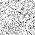 Black and white abstract psychedelic seamless pattern summer floral background Royalty Free Stock Photography