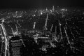 Black and White Aerial View at New York City at Night Royalty Free Stock Photo