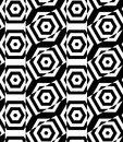 Black and white alternating rectangles cut through hexagons cros