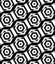 Black and white alternating rectangles cut through hexagons diag