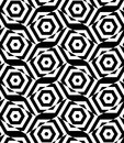 Black and white alternating rectangles cut through hexagons