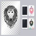 Black and white animal monkey head. Vector illustration for phone case. Royalty Free Stock Photo