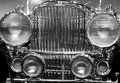 Black & White Antique Car Front Grille & Headlights Royalty Free Stock Photo