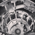 Black and white antique rotundra staircase at mission inn riverside california spiral the historic Stock Photos