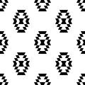 Black and white aztec ornament geometric ethnic seamless pattern,
