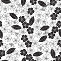 Seamless pattern with cherry blossom. Black and white background. Monochrome floral illustration. Royalty Free Stock Photo