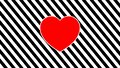 Black and white background with a red heart