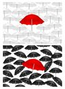 Black and white backgrounds with red umbrella, cdr Stock Photo