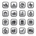 Black an white bank, business and finance icons Royalty Free Stock Photo