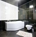 Black and white bathroom interior Royalty Free Stock Photo