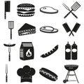 Black white bbq outdoors 16 element silhouette set