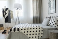 Black and white bedroom`s decor Royalty Free Stock Photo