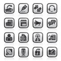 Black and white blogging, communication and social network icons Royalty Free Stock Photo