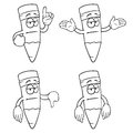 Black and white bored cartoon pencils set with various gestures Stock Photos