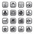 Black an white business, finance and bank icons Royalty Free Stock Photo