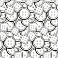 Black and white buttons seamless pattern