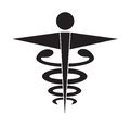 Black and white caduceus medical symbol icon vector isolated white background. Royalty Free Stock Photo
