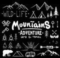 Black and white camping collection of icon made with ink and brush. Doodle style. Hand drawn set of adventure items
