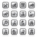 Black and white car and road services icons Royalty Free Stock Photo