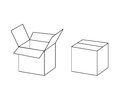 Black and white cardboard box package open and closed, vector Royalty Free Stock Photo