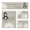 Black-white  cards template for embroidery school, handmade shop. Flat icon embroidering girl. Set of template for business Royalty Free Stock Photo