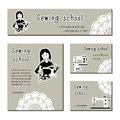Black-white  cards template for sewing school, tailor shop, shop sewing machines. Flat icon sewing girl seamstress. Royalty Free Stock Photo