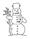 Black and white cartoon snowman without any color Royalty Free Stock Photo