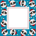 Black White Cat Santa Claus on Indigo Blue Banner Card. Vector Illustration Royalty Free Stock Photo