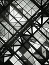 Black and white photo of glass ceiling with geometric shapes