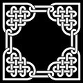 Black and white Celtic knot frame, made of heart shaped knots Royalty Free Stock Photo