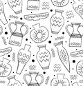 Black and white ceramic seamless pattern ethnic antique greek style background china endless texture with hand drawn tableware Royalty Free Stock Images