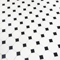 Black and white ceramic tiles floor close up of Stock Images