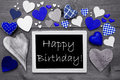 Black And White Chalkbord, Many Blue Hearts, Happy Birthday Royalty Free Stock Photo