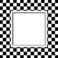 Black and white checkered frame with frame background classic center for copy space Stock Images