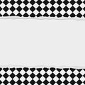 Black and White Checkered Frame with Torn Background Royalty Free Stock Photo