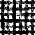 Black and white checkered gingham ink painted grunge seamless pattern, vector Royalty Free Stock Photo