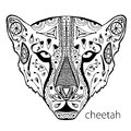 The black and white cheetah print with ethnic patterns. Coloring book for adults antistress. Art therapy Royalty Free Stock Photo